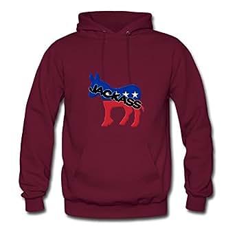 Women Hoodies Democrat Jackass Painting For Style Personality Sweatshirts-burgundy X-large