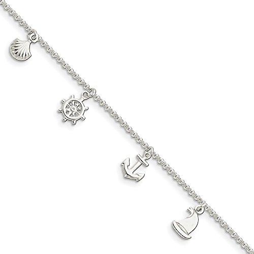 925 Sterling Silver Ocean Theme 1 Inch Adjustable Chain Plus Size Extender Anklet Ankle Beach Bracelet Seashore Fine Jewelry For Women Valentines Day Gifts For Her from ICE CARATS