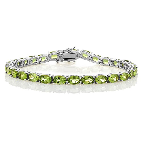 (Gem Stone King 925 Sterling Silver Peridot Gemstone Birthstone Women's Tennis Bracelet, 12.00 Cttw Jewelry 7 Inch)