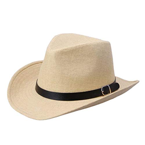Wide Brim Straw Cowboy Hat Outback Beach Sun Cap Gangster Panama Hat with Leather Belt Buckle Light Brown