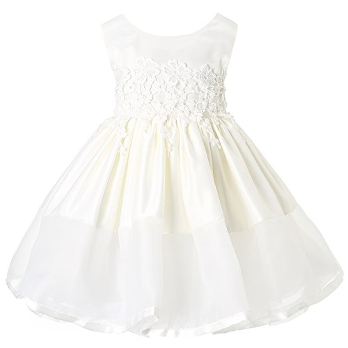 Sweetie Pie Satin Organza Dress (Hanakimi Lace Organza Tea-length Communion Dress Ball Gown JMK1614 (150cm/12 years, White))