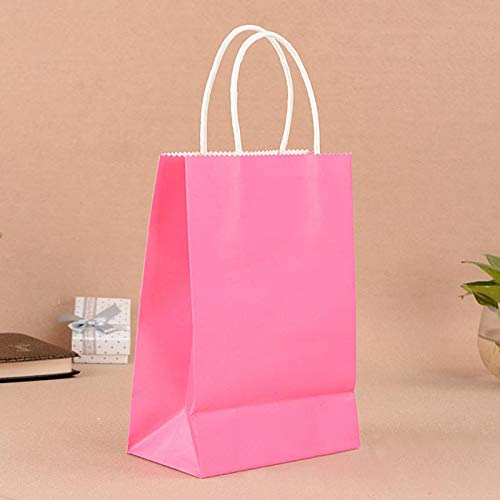 Haga Party Bag Paper Bag with Handles Sweet Color for Halloween Wedding Birthday Party Jewelry Festival Gifts Candy Paper Bags Rose red 27x21x11cm -