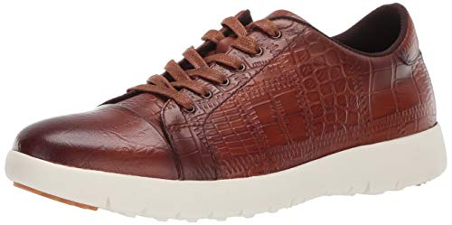 STACY ADAMS Men's Halcyon Exotic-Print Cap-Toe Lace-Up Sneaker, Cognac, 11.5 M US