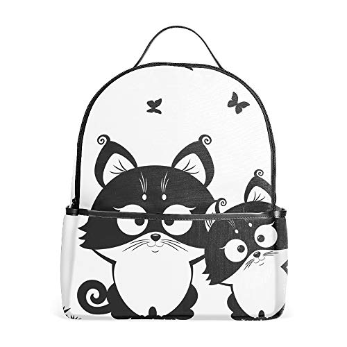 Lightweight Backpack for School, Cat Black Basic Water Resistant Casual Daypack for Travel with Bottle Side Pockets