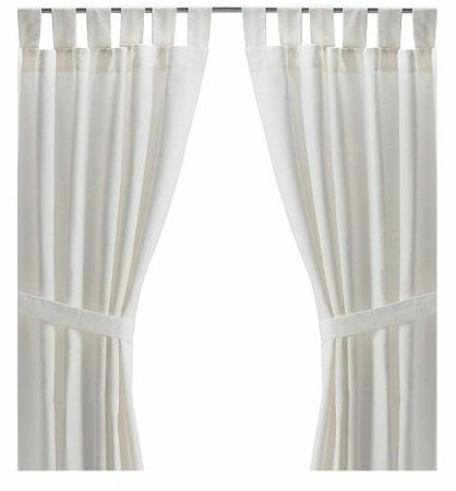 Ikea LENDA Pair Of LONG 118quot Curtains With Tie Backs White Bleached