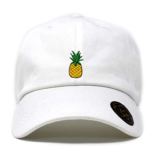(Love Sketches Pineapple Embroidered Classic Polo Style Baseball Cap Low Profile Dad Cap Hat (White))
