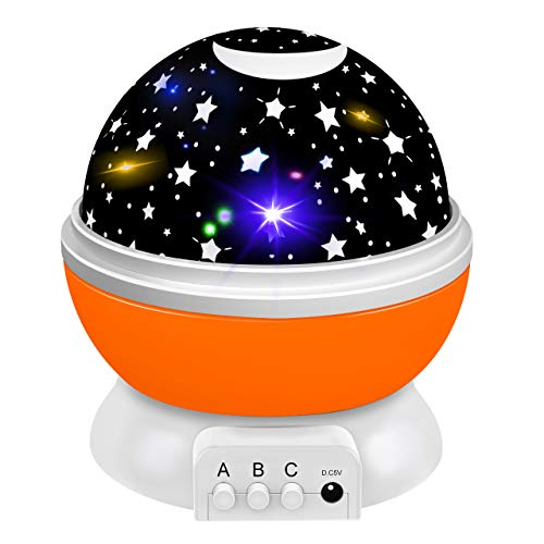 Dreamingbox Night Lights for Boys Age 1-10, Rotating Starry Nersery Night Lamp for Boys 1-10 Year Old Girls Boys Birthday Gifts for 1-10 Years Old Girls Orange TGUSYD05