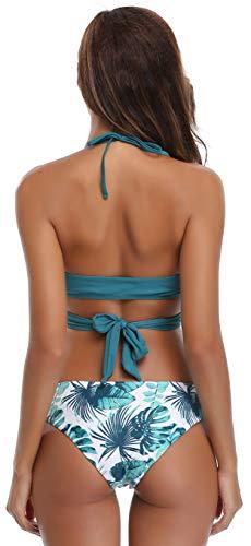 2 Swimwear Vert Bandage Floral Triangle Plage Halter Print De Push Brésilien Pièces Foncé Maillots Bikini Shekini Bain Up Femme Deux oerdBWCx
