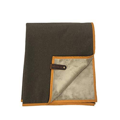 Belmont Blanket HELLAGOOD Blanket Waterproof Fleece Camping Blanket | Northwest Brown with Old Gold Trim