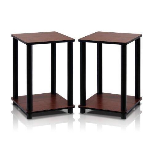 Furinno 2-99800RDC Turn-N-Tube End Table Corner Shelves, Set of 2, Dark (Cherry Living Room End Table)