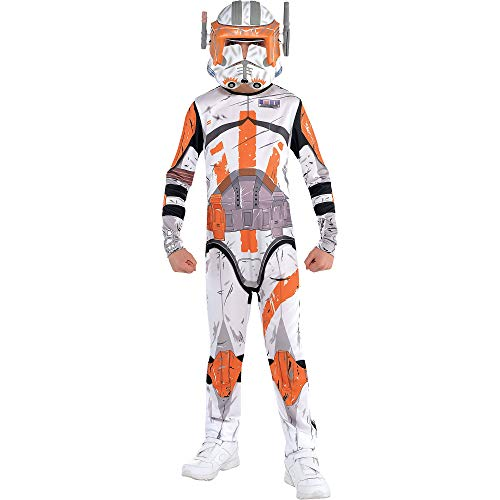 Costumes USA Star Wars Commander Cody Costume for Boys, Size Medium, Includes a White and Orange Jumpsuit and a Mask
