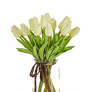 Artificial Tulips 20 Pcs Real Touch Latex Fake Flowers for Wedding Bouquet Home Party Office Decor (Milky White) 88