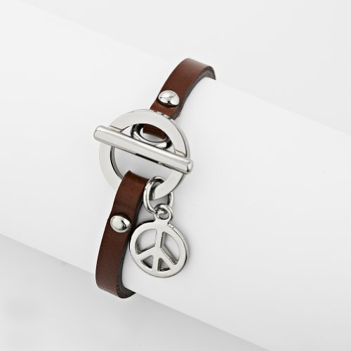 Stainless Steel Symbolic Peace Sign Light Brown Leather Wrap Charm Bracelet, Women Teenagers & Girls