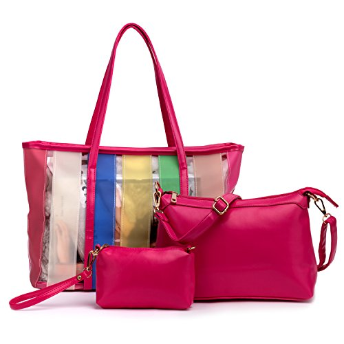 Rose Red Color Big Sale 3 in 1 Pink Candy Crossbody Shoulder Bag Stripe Fresh Shopping Bags Women's Pu Leather Handbags