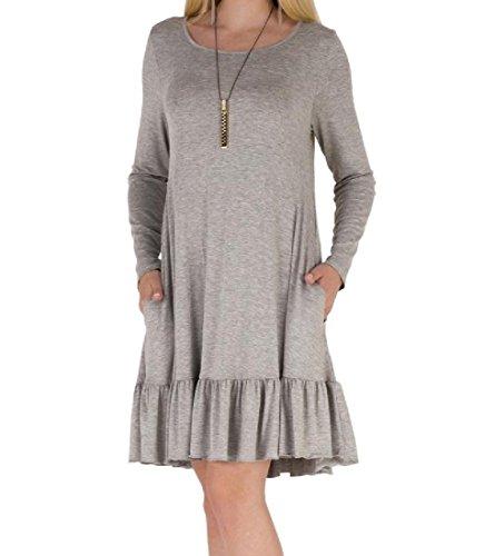 Di Leggera Womens A shirt Grigio Balze Solida Coolred Lunghe Stile Vestito Maniche T Base qIZqB
