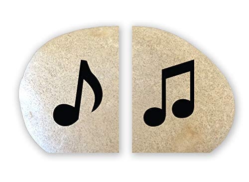 (Engraved Stone Bookend Set - Music Notes)