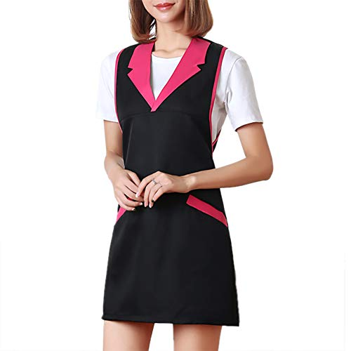 Opromo Sleeveless Uniform Apron for Hair/Nail Beauty Salon, With Two Pockets-Black/red 1 ()