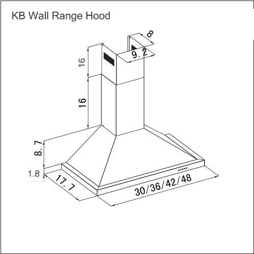 Z Line KB-36 Stainless Steel Wall Mount Range Hood, 36-Inch
