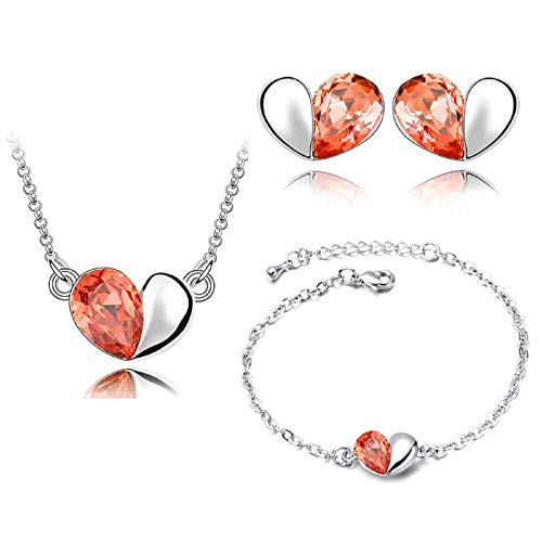 TOPOB Fashion Necklace Earrings Bracelet Heart Love Diamond Crystal Pendant Elegant Women Jewellery Set (Orange)