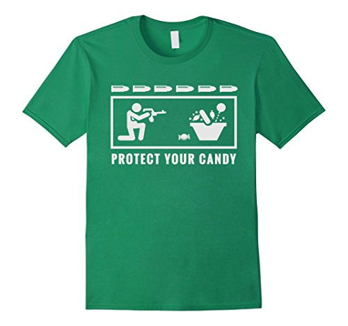 Mens Protect your Candy Shirt Funny Halloween Trick or Treat Medium Kelly Green