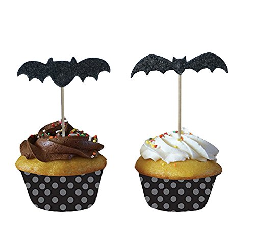 PARTYMASTER Halloween Decorations Lot of 48 Bat Design Food Toothpicks Cupcake Muffin Toppers,Mixed Packaging -