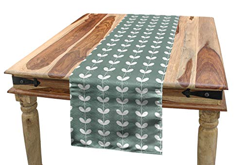(Ambesonne Nature Table Runner, Retro Textured French Late Baroque Style Tulip Branches Botany Inspired, Dining Room Kitchen Rectangular Runner, 16