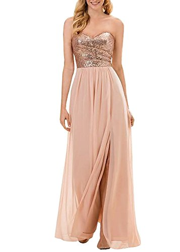 Dannifore Strapless Sweetheart Rose Gold Bridesmaid Dresses Full Length Prom Gown Style E,Size 12 - Empire Strapless Satin