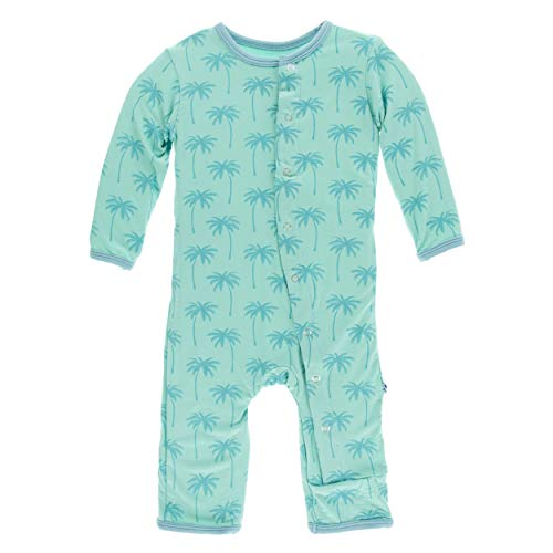 Kickee Pants Little Boys Print Coverall with Snaps - Glass Palm Trees, 12-18 Months