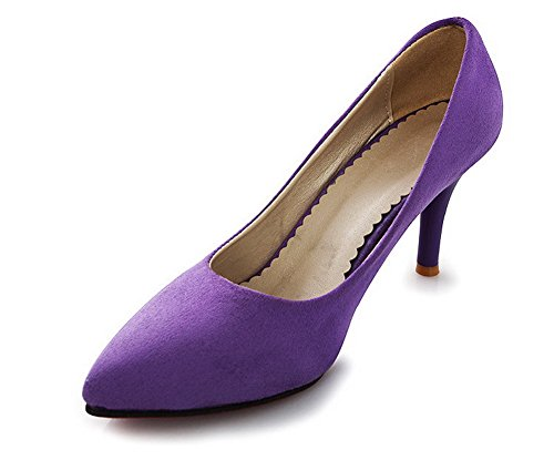 BalaMasa Womens Pointed-Toe Chunky Heels Low-Cut Uppers Suede Pumps Shoes Purple