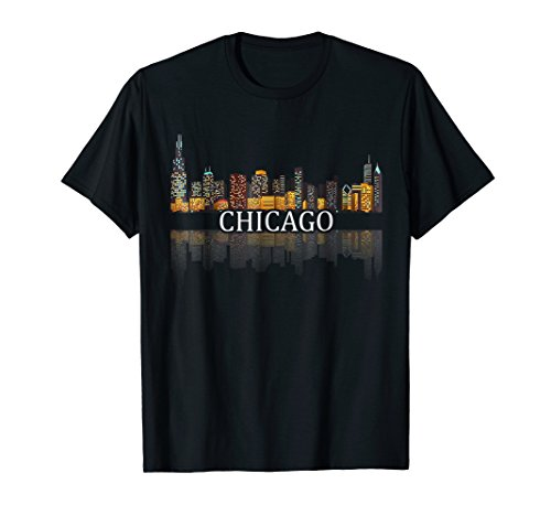 Chicago T Shirt Chicago City Skyline Lights At Night Gifts Chicago Bears Womens T-shirt