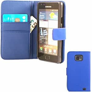 Tarjeta De Crédito Capirotazo Caja Cubierta Para Samsung Galaxy S2 SII i9100 / Dark Blue