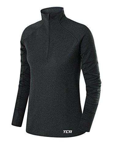 Price comparison product image TCA Women's Cloud Fleece ¼ Zip Thermal Running Top with Zip Pocket - Quiet Shade Grey,  Small