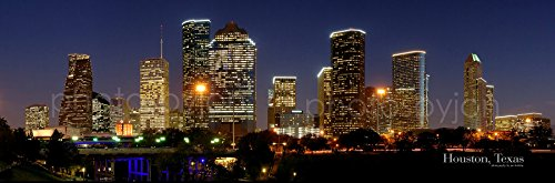 Houston Skyline PHOTO PRINT UNFRAMED NIGHT Color City Downtown 11.75 inches x 36 inches Texas Photographic Panorama Poster Picture Standard Size