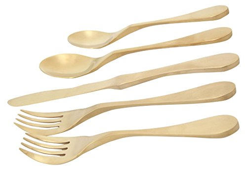 Knork 5 Piece Flatware Set, Satin Brass, (matte gold) Titanium Coated Stainless Steel ()