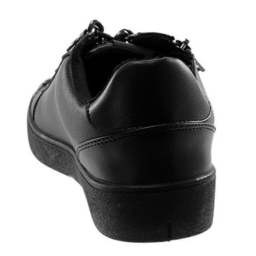 Cm Chic Chaussure Métallique Noir Femme Talon Sporty Clouté 3 Chaïnes Baskets Mode Tennis Plat Angkorly XqwOzX