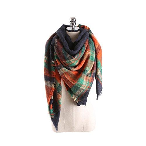 C-stylish Winter Women Oversized Tartan Blanket Scarf with Tassels Plaid Warm Cozy Tartan Wrap Shawl Cape