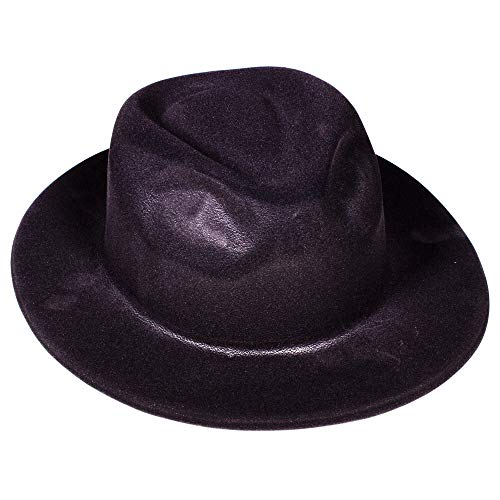 Windy City Novelties Gangster Hat Fedoras (Black Velour), Pack of 12]()