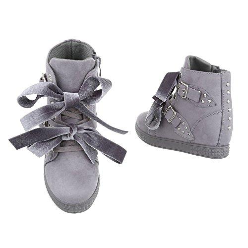Compensé Gris design Baskets High Mode Sneakers Femme Ital Espadrilles Chaussures qz48tt