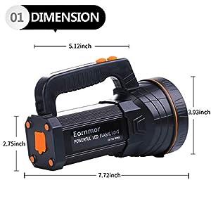 Eornmor High Power LED Rechargeable Spotlight Handheld 6000 Lumen Super Bright Waterproof Large LED Flashlight High Lumen Portable Searchlight Floodlight (Black 2)