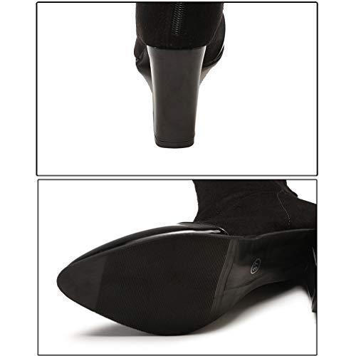 De Con Gamuza Botones Fiesta Negro Grueso Noche Invierno Punta Bodas Talón Para Moda Botas Yan Y Zapatos Cerrada Puntiagudos botines Mujer 51qxB