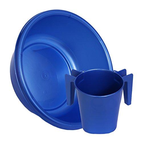 YBM Home Square Wash Cup & Round Wash Basin Netilat Yadayim, Negel Vasser Set Ba154-1147set (1, Blue) - Caro Washbasin