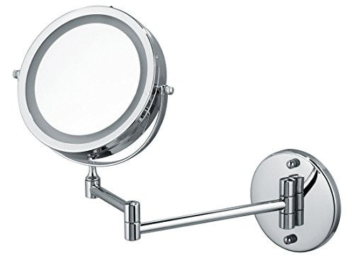 Price comparison product image Ovente Wall Mount LED Lighted Makeup Mirror, Battery Operated, 1x/10x Magnification, 7 Inch, Polished Chrome (MFW70CH1x10x)
