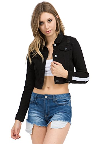 TwiinSisters Women's Basic Classic Casual Destroyed Button Down Denim Jacket - Size Small to 3X (Large, Black/White #Rjk2045)