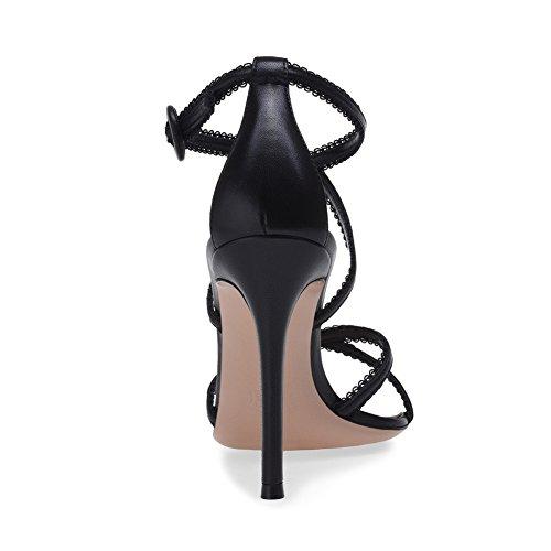 Club Dentelle 42 Ceinture Haut Croisée Talon TLJ Femme Mariage Taille Black Sexy Soirée De Transgenre KJJDE Sandales Fête 45 en Grande Plateforme SCfHqn