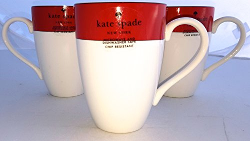 Four (4)-Piece Lenox Kate Spade Rutherford Circle Red Pattern 14 oz Tea / Coffee Cup Mug Set