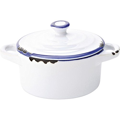 Avebury Blue Mini Casserole Dish 4inch / 10.5cm - Case of 12 - Mini Casserole Pot, Suitable for Serving Sauces Utopia
