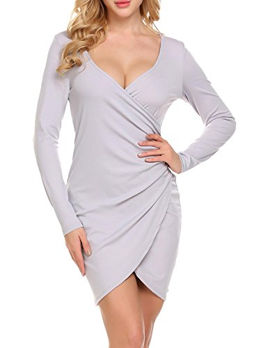 Zeagoo Women's Deep V-Neck Asymmetrical Front Slit Ruched Zipper Mini Wrap Dress, Grey, Small