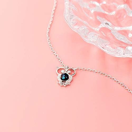 ZZAI Collar De Cristal Lindo De Plata De Ley 925 - Cadena De Clavícula De Pájaro - Regalo del Día De La Madre  06MBbP