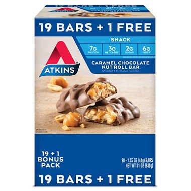 Atkins Snack Caramel Chocolate Nut Roll Pack (19 + 1 Bonus Bar) AS