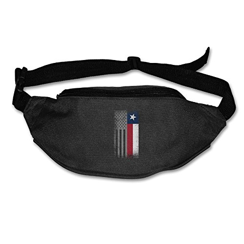 Heard Me Unisex American Texas Flag Combo Fanny Pack Waist Bag Phone Holder Adjustble Running Belt For Cycling,Vacation,Hiking,Gym Black